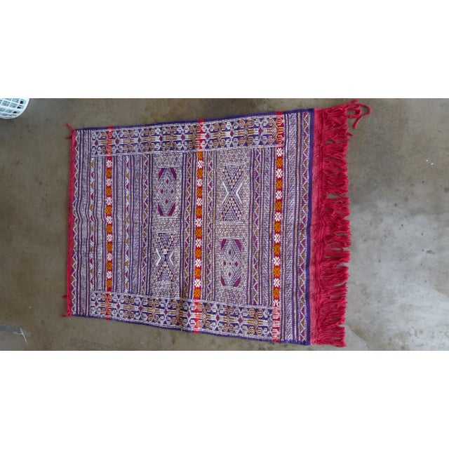 Multi-Colored Hand Woven Moroccan Rug For Sale - Image 5 of 7