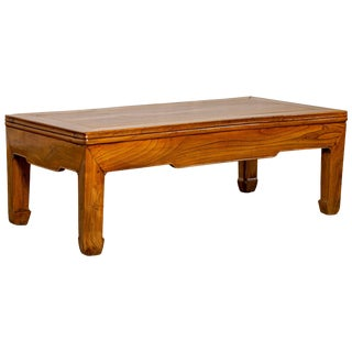 Small Chinese Vintage Natural Wood Coffee Table With Straight Horse-Hoof Legs For Sale