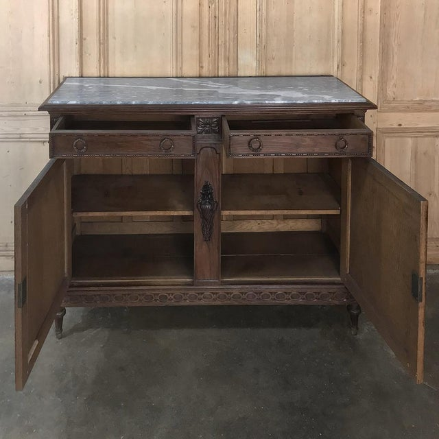 Antique French Louis XVI Marble Top Buffet For Sale - Image 11 of 13