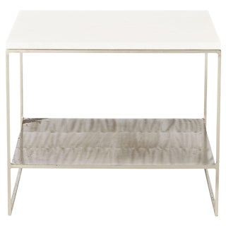 Mid-Century Modern Schumacher Steel and White Marble End Table For Sale