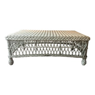 Frontgate Hampton Outdoor Wicker Rattan Coffee Table - Ivory For Sale