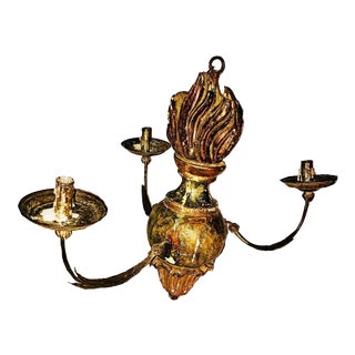 17th/18th Century Antique Hand Carved and Painted, Removable Arm Chandelier For Sale