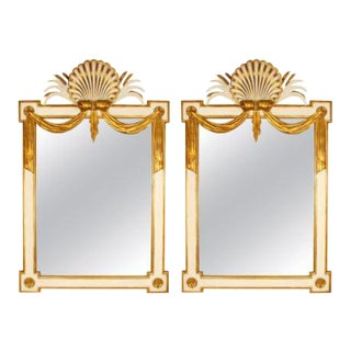 Pair of Regency Style Giltwood and Painted Wood Mirrors For Sale