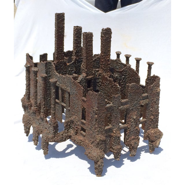 Iron Torch-Cut Brutalist Sculpture Coffee Table - Image 5 of 9