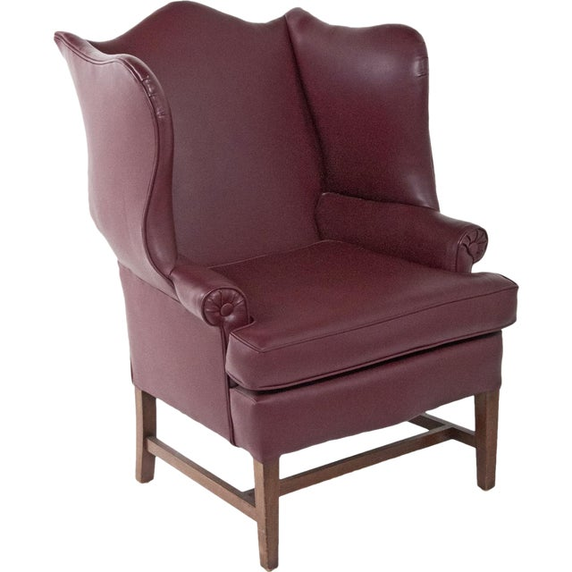 1920s English Vinyl Wingback Arm Chair For Sale