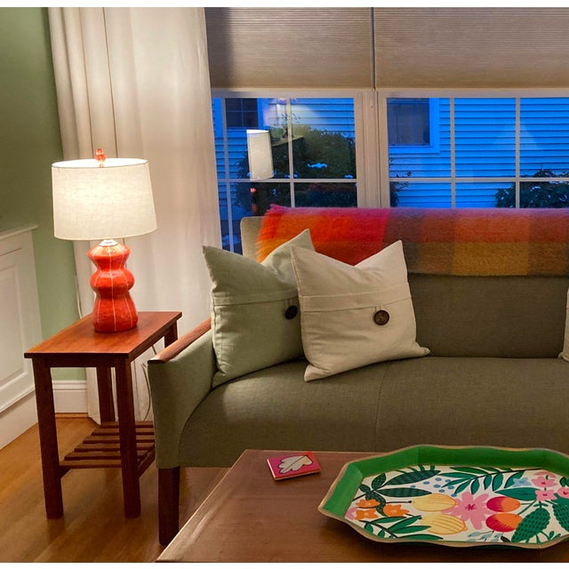 Contemporary Contemporary Kri Kri Studio Coral Red Ceramic Table Lamp For Sale - Image 3 of 5