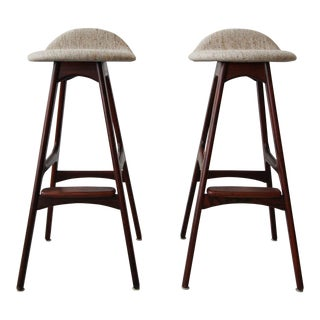 Pair of Danish Mid Century Rosewood Bar Stools by Erik Buch For Sale