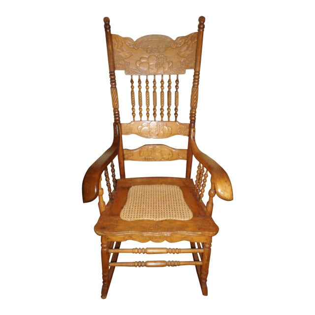Late 20th Century Antique Golden Oak Rocking Chair For Sale