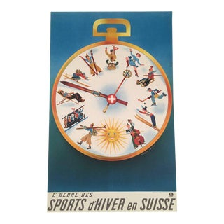 Swiss Winter Sports Travel Poster by Herbert Leupin For Sale