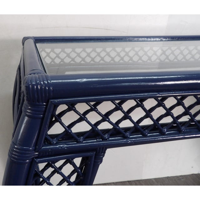 Vintage Navy Lacquer Finish Bamboo Rattan Glass Topped Console Table For Sale - Image 4 of 7