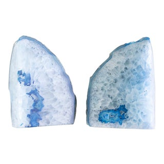 Agate Geode Crystal Bookends | Turquoise Blue | Set of Two For Sale