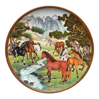Unusual Equestrian Motif Cloisonné Charger, China, 20th Century For Sale