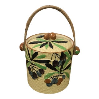 Majolica Biscuit Jar Ice Bucket With Lid and Rattan Handle For Sale