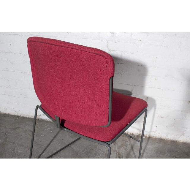Mid-Century Modern Vintage Steelcase Modern Stackable Chair, Refinished in Red Micro Linen For Sale - Image 3 of 6