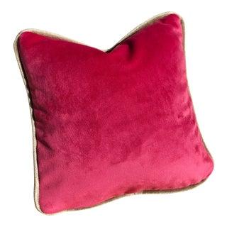 Cerise & Champagne Velvet Feather Down Toss Pillow, Custom Made For Sale