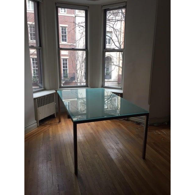 Conrad Glass Dinning Room Table on Steel Base - Image 3 of 4