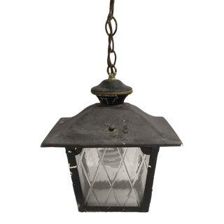 Arts & Crafts Black Metal & Glass Exterior Ceiling Lantern For Sale