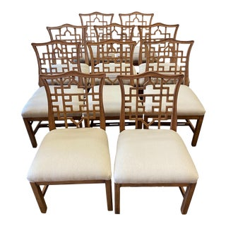 Chinese Chippendale Hickory Chairs Dining Chairs - Set of 10 For Sale