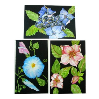 Lynne French Gallery Wall Garden Flower Paintings - Set of 3 For Sale