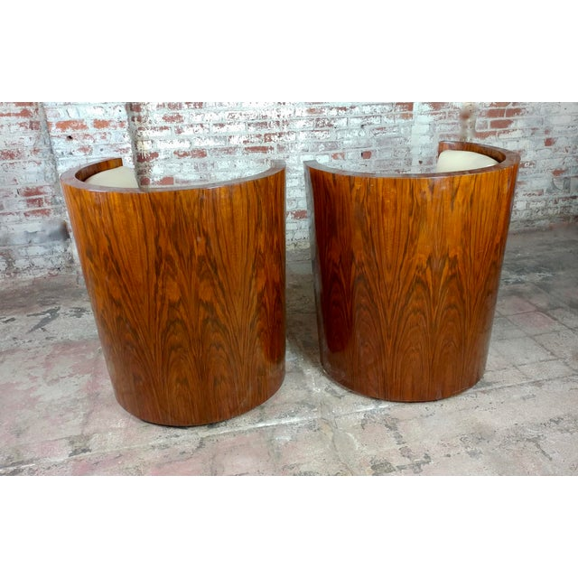 Art Deco Fabulous Burl Walnut Barrel Chairs W/White Leather Seats-A Pair For Sale - Image 9 of 10