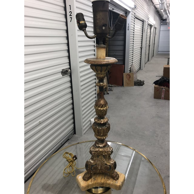 French Antique 19th C. French Carved and Gilded Marble Base Table Lamp For Sale - Image 3 of 8