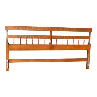 Vintage L. Hitchcock Maple Autumn Harvest Stenciled Litchfield King Bed Headboard For Sale