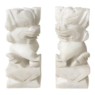 Carved Stone Guardian Foo Dog Bookends - A Pair