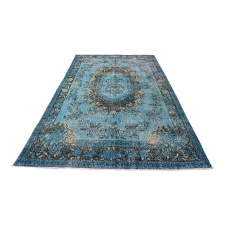 1980s Vintage Turkish Oushak Overdyed Turquoise Rug- 5′10″ × 9′10″ For Sale