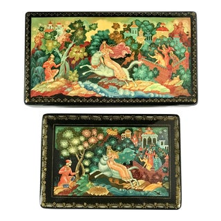 1990s Russian Lacquer Boxes - a Pair For Sale
