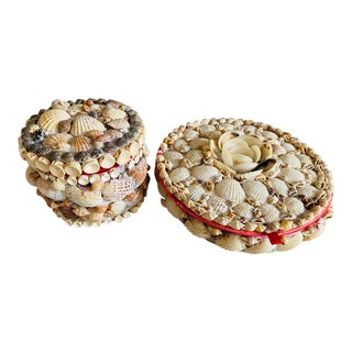 Seashells Round Boxes, Pair For Sale