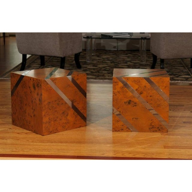 Restored Pair of Olivewood and Nickel Cubes For Sale - Image 10 of 11