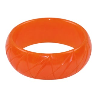 Bakelite Bracelet Bangle Geometric Striped Carving Papaya Orange Marble Color For Sale