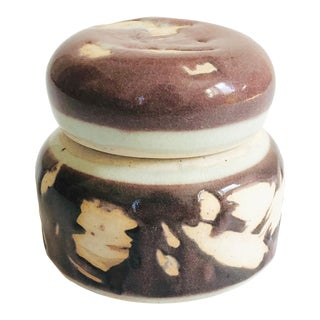 Vintage 1970s Purple Studio Pottery Container For Sale
