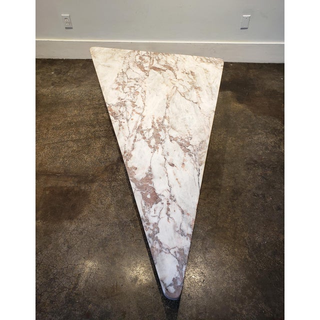 1970s Triangular White Marble Italian Coffee Table For Sale - Image 4 of 11