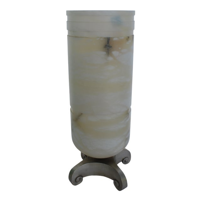Art Deco Alabaster Shade and Bronze Base Lamp For Sale