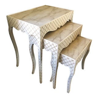 1990s Neoclassical Niermann Weeks Painted Lattice Nesting Tables - Set of 3 For Sale