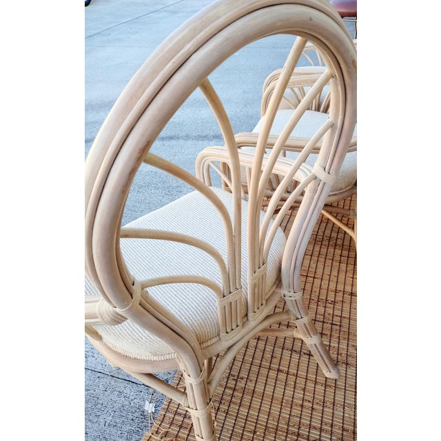 McGuire Vintage McGuire Style Natural Coastal Rattan Dining Arm Chairs Set of 6 For Sale - Image 4 of 10