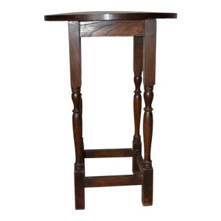 19th Century English Round Oak Side Table For Sale