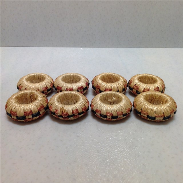 Hand Crafted Basket Weave Napkin Rings - Set of 8 - Image 2 of 6