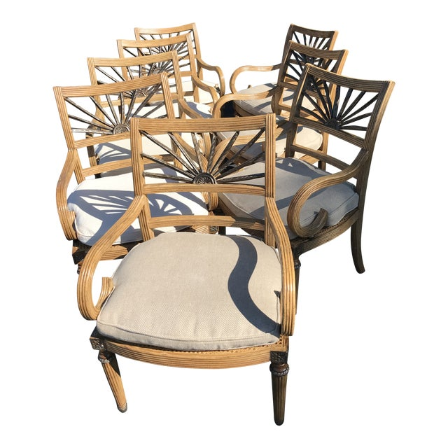 Ferguson Copeland Split Rattan British Colonial Arm Chairs Eight