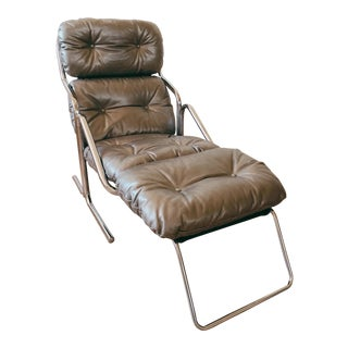 Mid Century Chrome and Silver Leather Lounger by Jerry Johnson For Sale