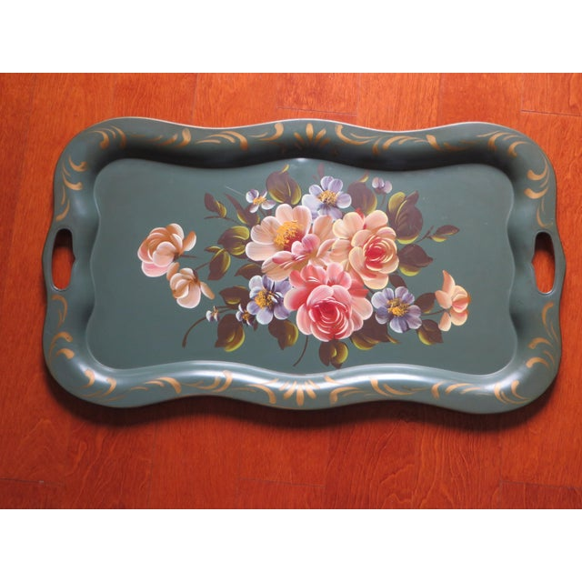 Vintage Floral Green Tole Tray - Image 2 of 5