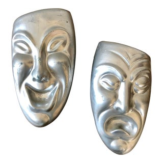 Vintage Comedy & Tragedy Plaster Masks- a Pair For Sale