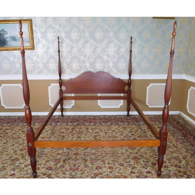 This is a very good custom hand made solid cherry 4-poster canopy American Colonial style Queen size bed made by Eldred...