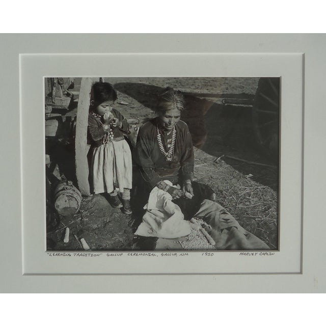 """Native American 1950s Native American Photograph, """"Learning Tradition"""" by Harvey Caplin For Sale - Image 3 of 4"""