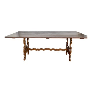 20th Century Spanish Revival Wooden Library/Dining Table For Sale