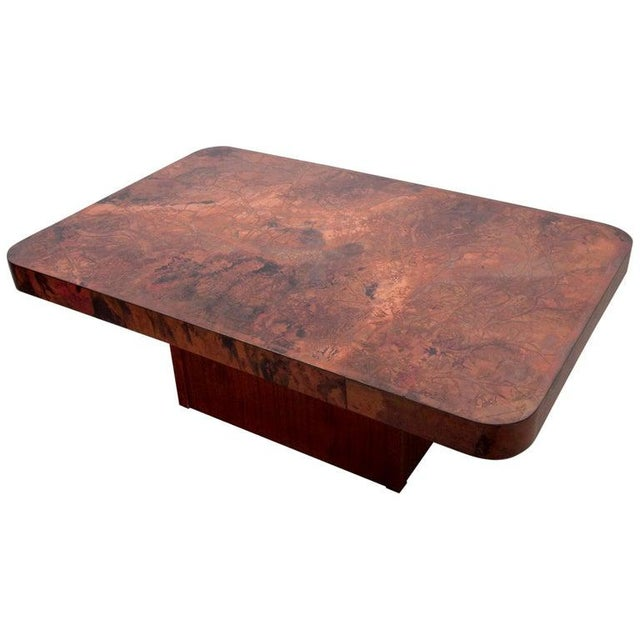 Rare Huge Copper and Mahogany Coffee Table by Bernhard Rohne For Sale - Image 6 of 6
