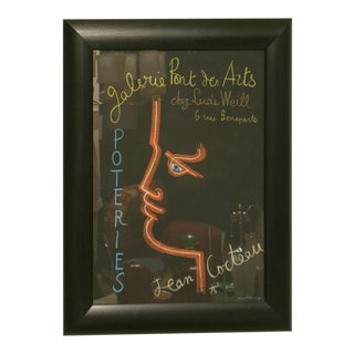Vintage Original Jean Cocteau Stone Lithograph Exhibition Poster Custom Framed For Sale