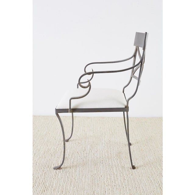 Metal Set of Four Regency Style Iron Garden Patio Chairs For Sale - Image 7 of 13