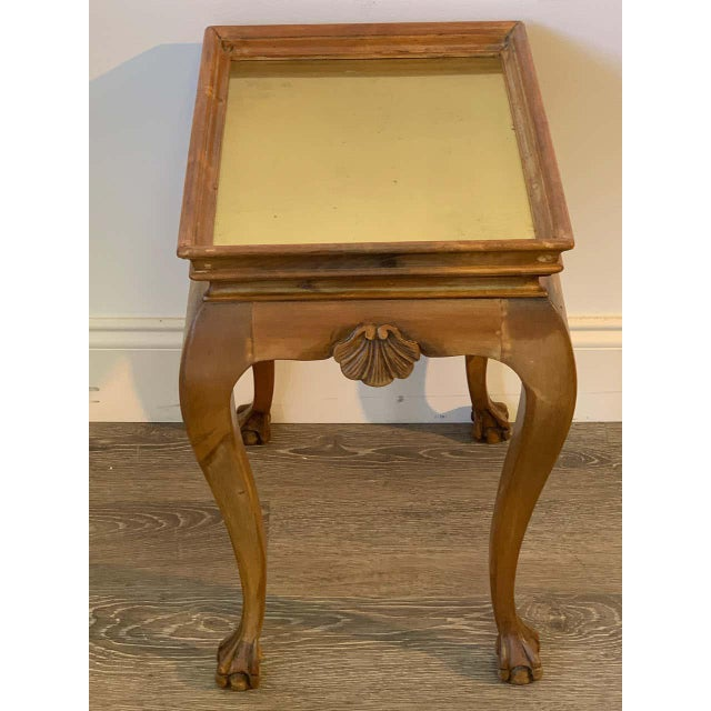 Mid 20th Century Diminutive Bleached Wood & Brass Side Table For Sale - Image 5 of 7